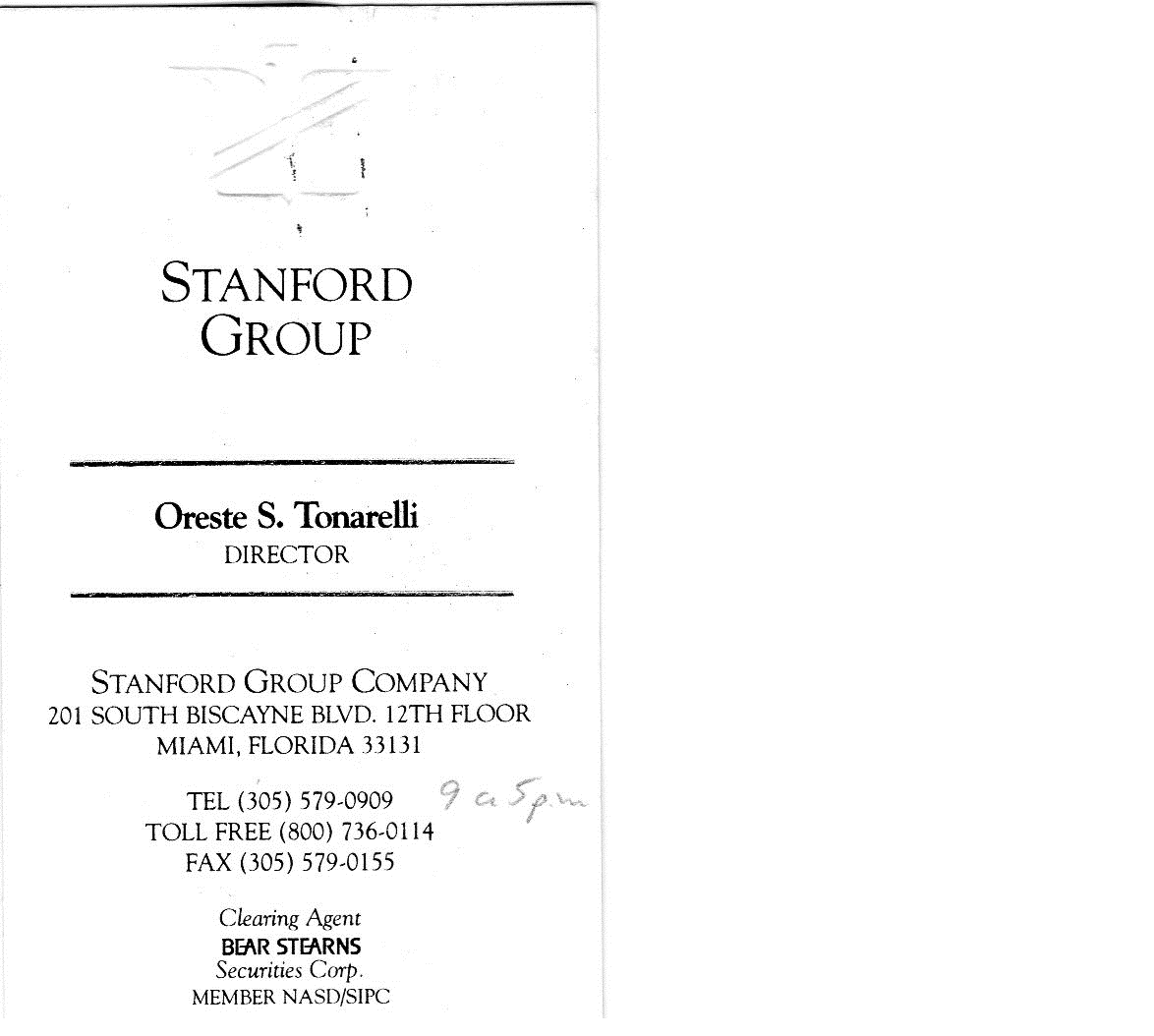 Oreste Tonarelli Business Card